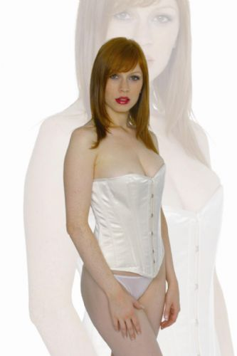 "Playgirl London Steel Boned Overbust Corset In Ivory Cream Duchess Satin Suits 23/24"" Waist"